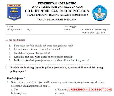 Soal SD/MI Kelas 6 Semester 2 Tema 6 Subtema 2 K13 Revisi 2018