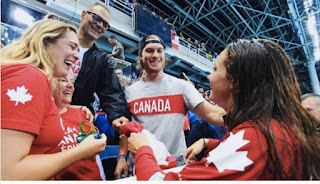 Denis Shapovalov Sharing Fun Moment With Penny Oleksiak And Others