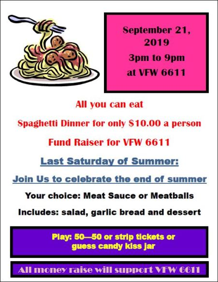 9-21 Spaghetti Dinner, Galeton VFW 6611