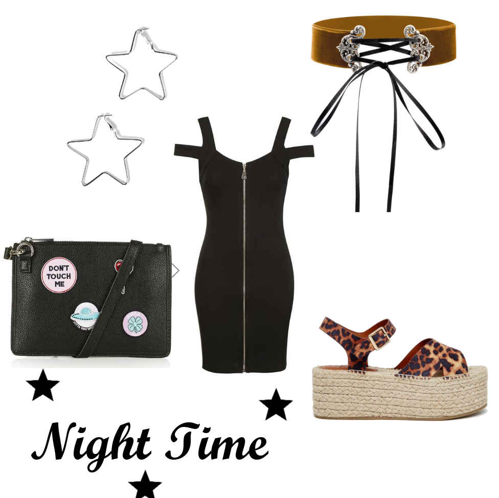 night time going out night out ootd outfit, how to stlye chunky espadrilles, leopard print espadrilles, summer alternative grunge fashion style inspration, corest choker, bodycon zip dress