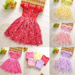 Casual Toddler Baby Kids Girls Patchwork Stars Tulle Princess Dress