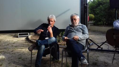 Presentazione a Palermo del libro Pensare sul mare tra-le-terre, di Augusto Cavadi 6/6/2019 - Francesco Giardina con l'autore