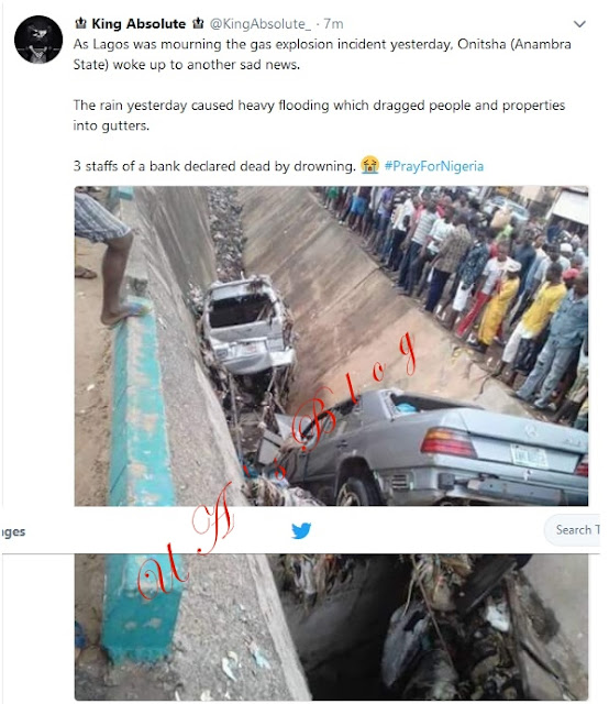 Heavy Rainfall Wreaks Havoc In Onitsha, Drags Cars Inside Gutter (Photos)