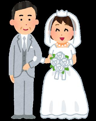年の差婚のイラスト(年上の男性と年下の女性)