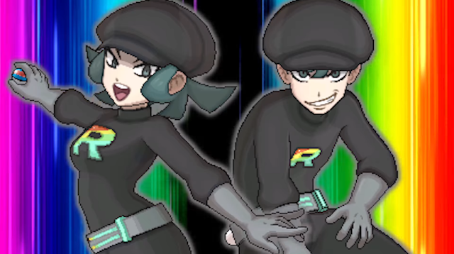 Team Rainbow Rocket grunts double battle female male trainers Pokémon Ultra Sun Moon blue hair