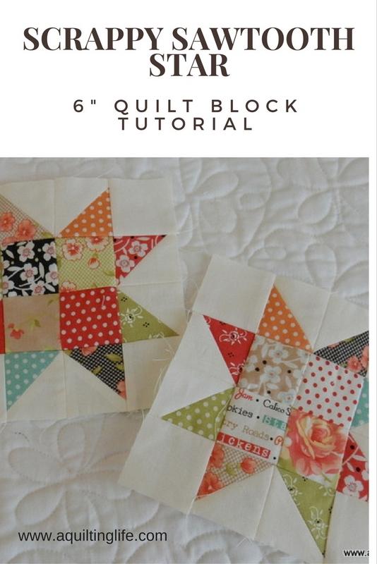 http://www.aquiltinglife.com/2015/07/scrappy-sawtooth-star-quilt-block.html