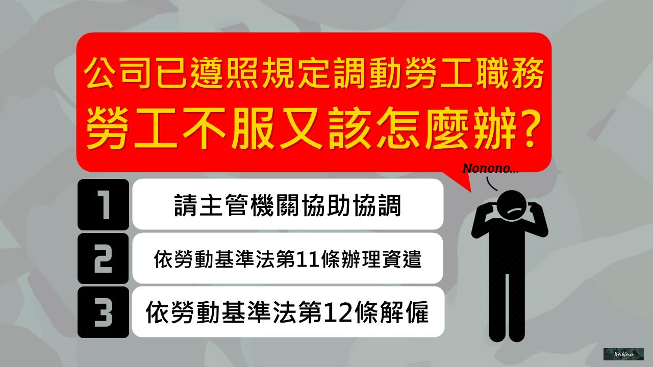 公司已遵照規定調動勞工職務,勞工不服又該怎麼辦?