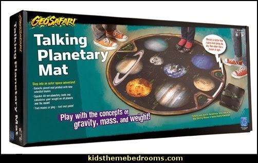 Talking Planetary Mat  solar system decorating - moon stars alien theme bedrooms - star wars theme bedrooms  - robots rockets theme decorating - galaxy bedding - Sci Fi  theme bedrooms