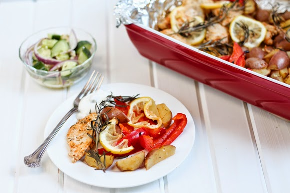 Rosemary Chicken Lemon Potatoes and Cucumber Salad