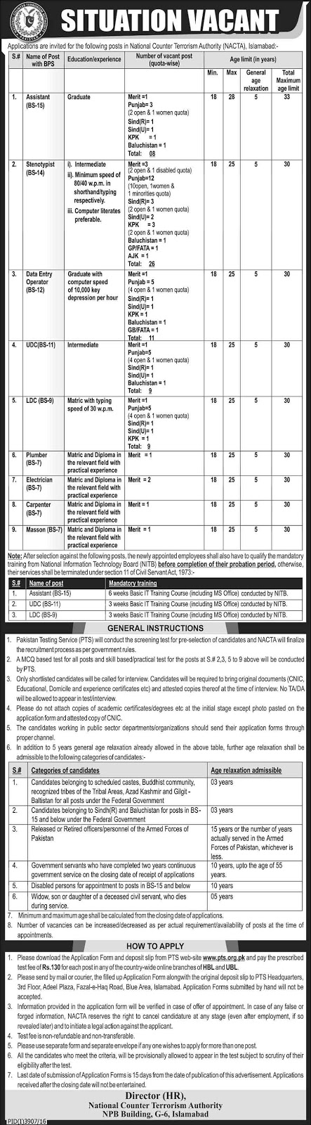 National Counter Terrorism Authority Islamabad Jobs 2017