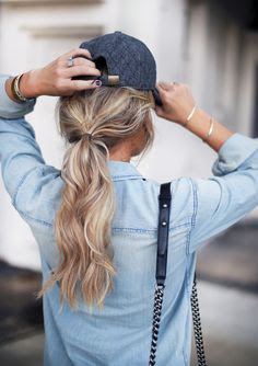 GIrl Wearing Chambray Shirt with Quilted Baseball Hat