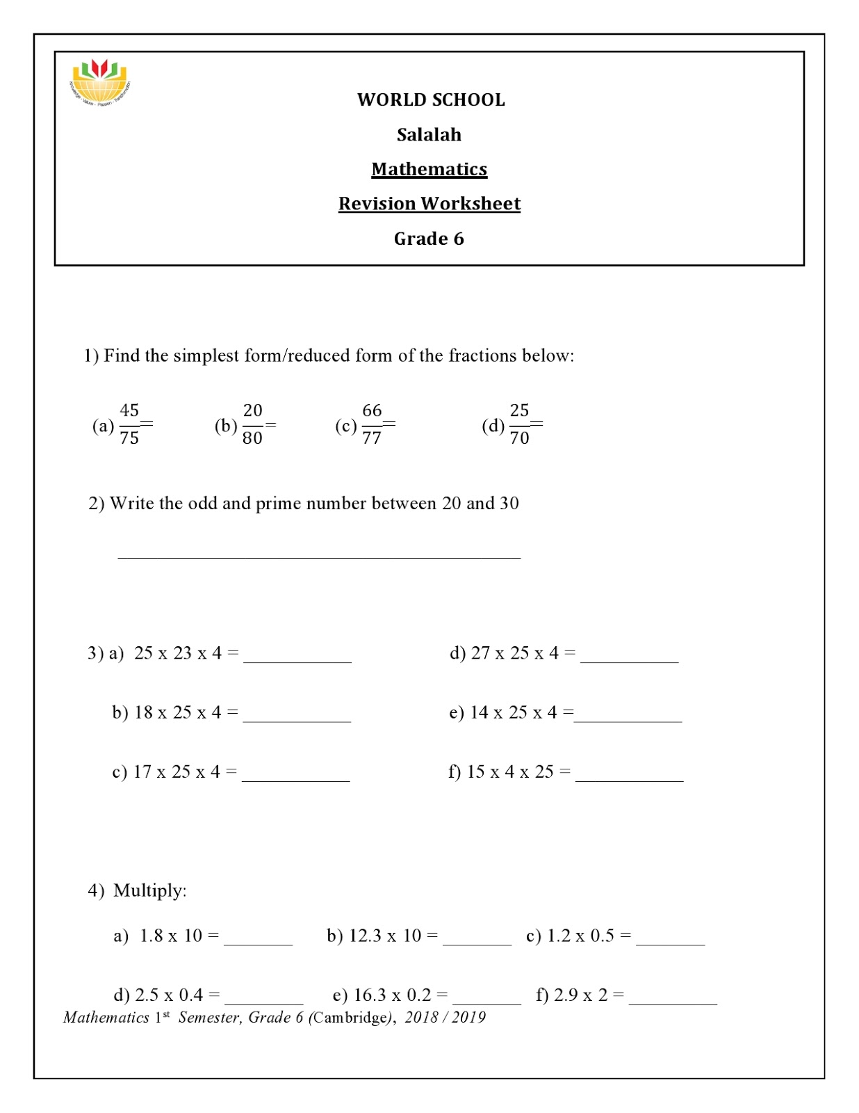 small resolution of WORLD SCHOOL OMAN: Math Revision for Grade 6 as on 03-01-2019