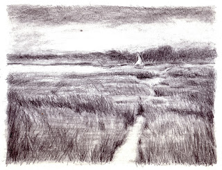 Katherine Kean, drawing, marsh, Cape Cod, Boat, graphite