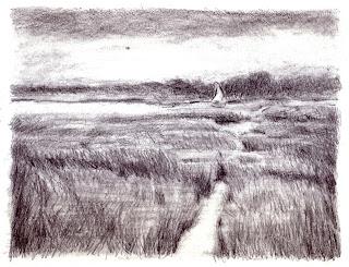 Katherine Kean, drawing, marsh, Cape Cod, Boat, graphite