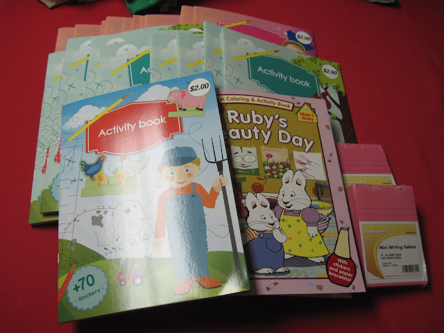 Workbooks and coloring books from CVS 75% off clearance to pack in Operation Christmas Child shoeboxes.