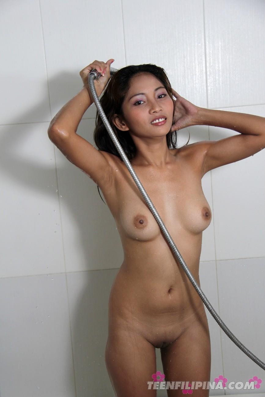 Hot asian girl taking shower entertaining question