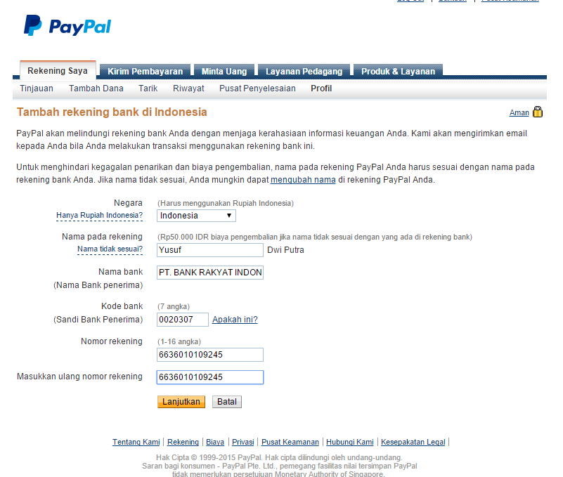 Cara Verifikasi Paypal Dengan Bank Bri Sun Go Blog