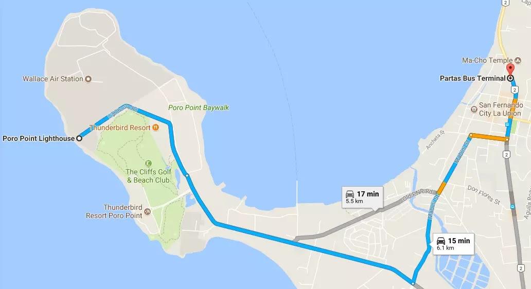Google Map Partas Bus Station to Poro Point Lighthouse