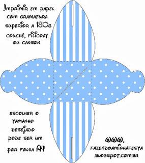 Celeste con Lunares y Rayas Blancas: Cajas para Imprimir Gratis.