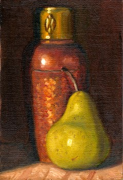 Oil painting of an Art Deco copper vase beside a green pear.