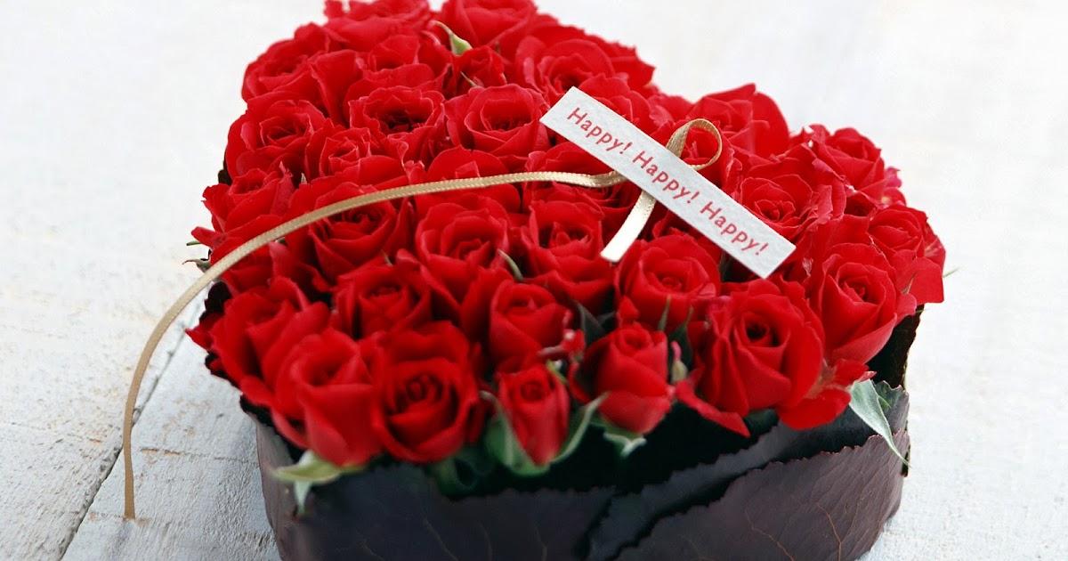 Fondo De Pantalla Dia De San Valentin Regalo Con Rosa: Fondos HD: Ramo De Flores Rosas