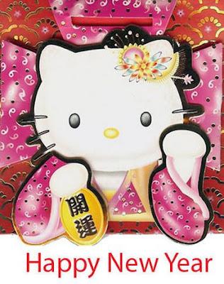 Gambar Hello Kitty Terbaru Happy New Year Kimono Pink Selamat Tahun Baru Wallpaper HD