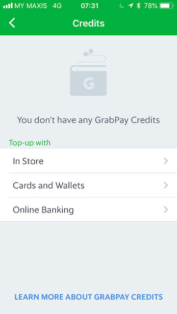 GrabPay top-up options