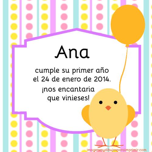 Invitacion primer cumpleaños para imprimir