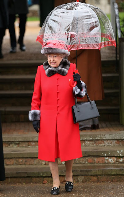 Britain's Queen Elizabeth II attends a traditional Christmas Day Church Service at Sandringham in eastern England