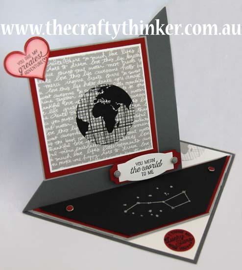 SU, Fun Fold card, The Crafty Thinker, Masculine valentine card