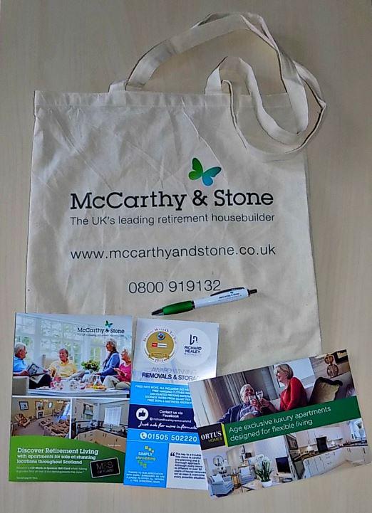 McCarthy and Stone goody bag