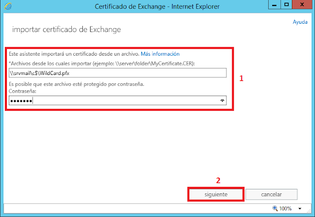 Importar certificado de Exchange - WildCard.