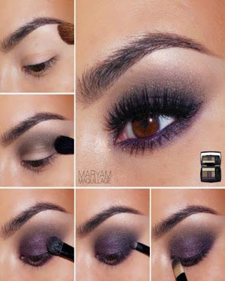 maquillaje de ojos tonos burdeos morado