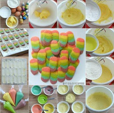 resep dan cara membuat kue kering lidah kucing rainbow