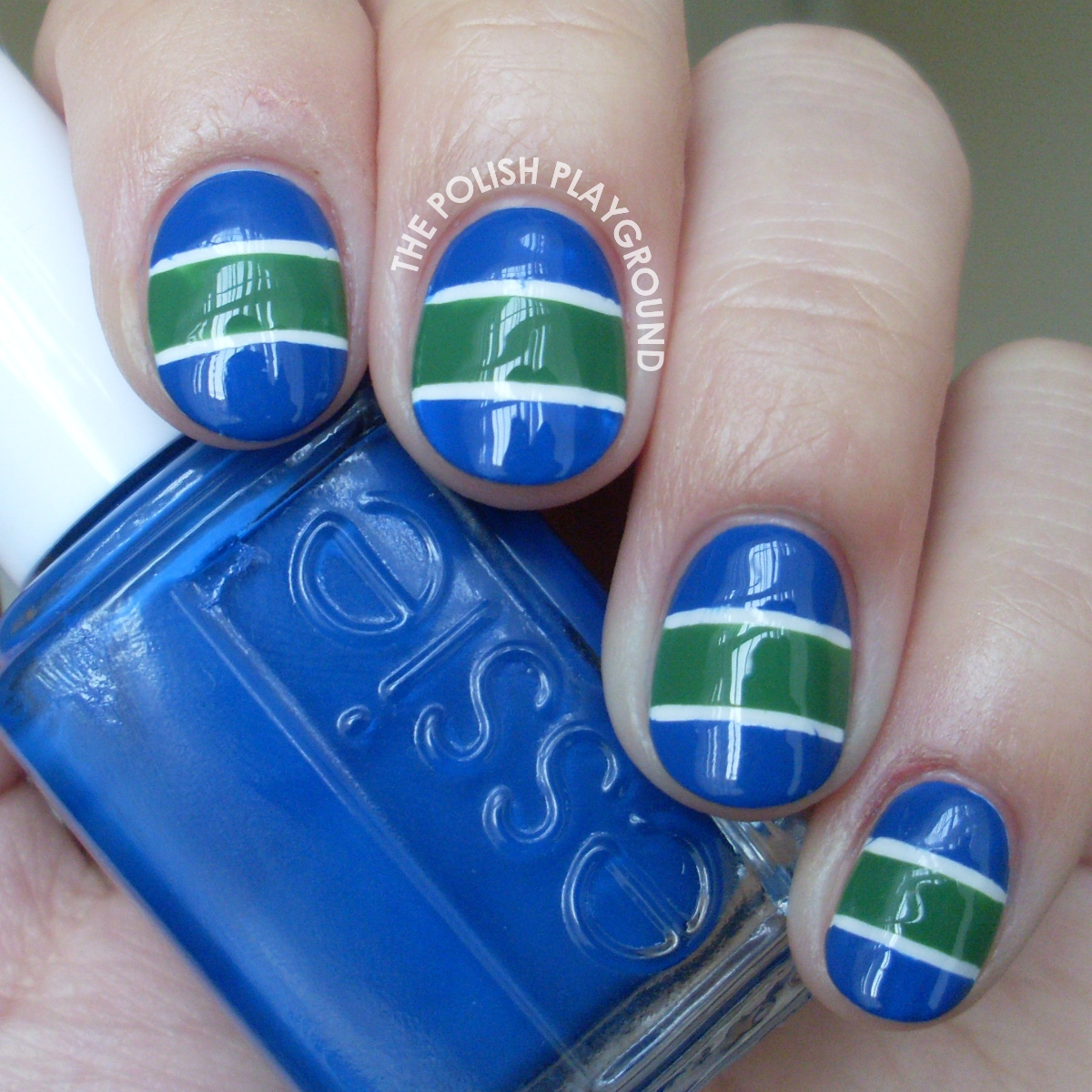 Vancouver Canucks Hockey Team Jersey Inspired Nail Art
