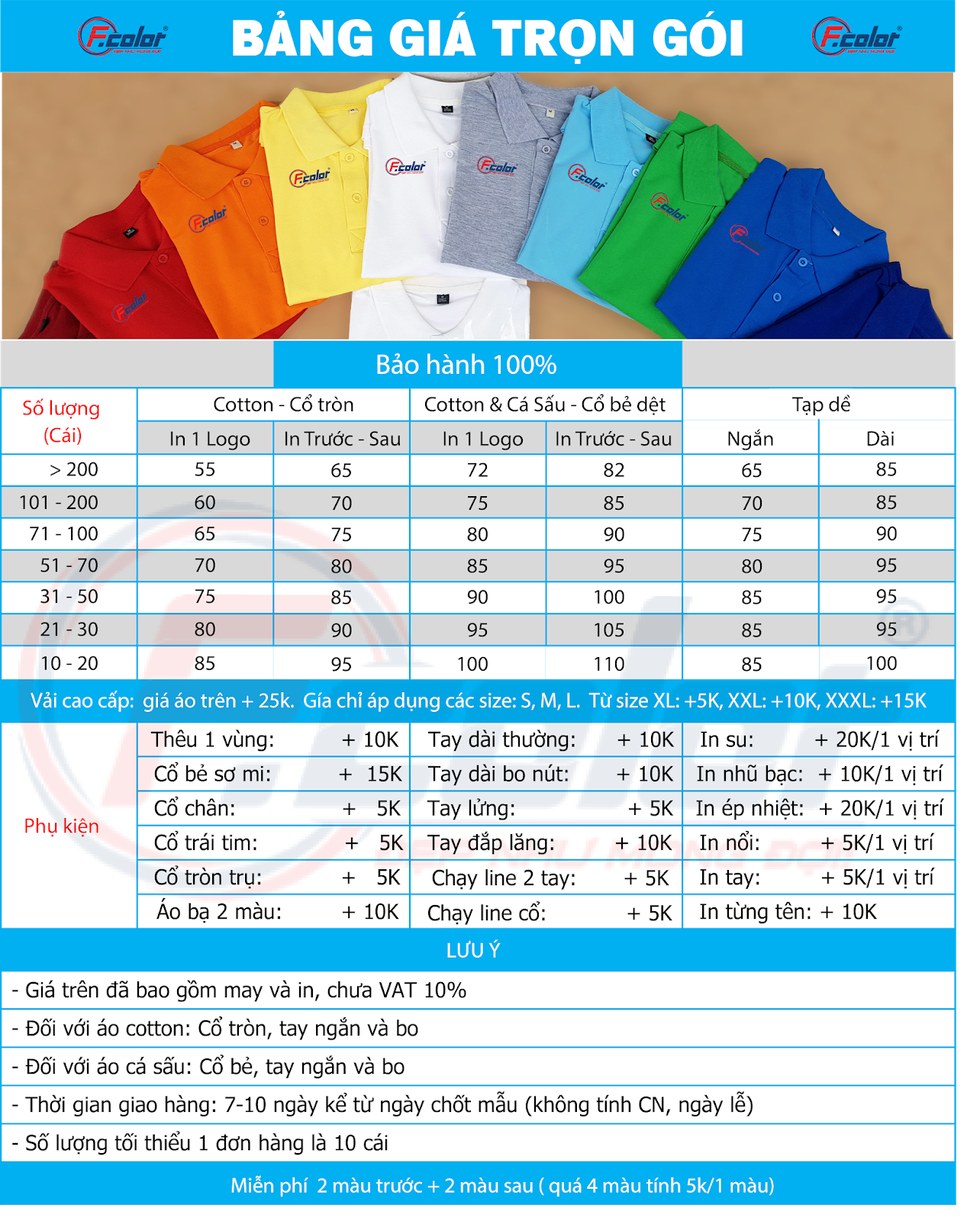 Bảng giá áo lớp Đà Nẵng