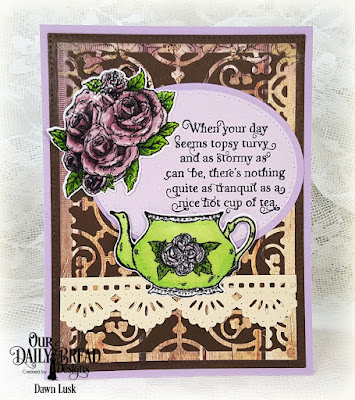 Our Daily Bread Designs Stamp Set: Tea Time, Our Daily Bread Designs Custom Dies: Majestic Medallion, Teapot and Roses, Pierced Ovals, Pierced Rectangles, Ovals, Beautiful Borders, Our Daily Bread Designs Paper Collection: Rustic Beauty