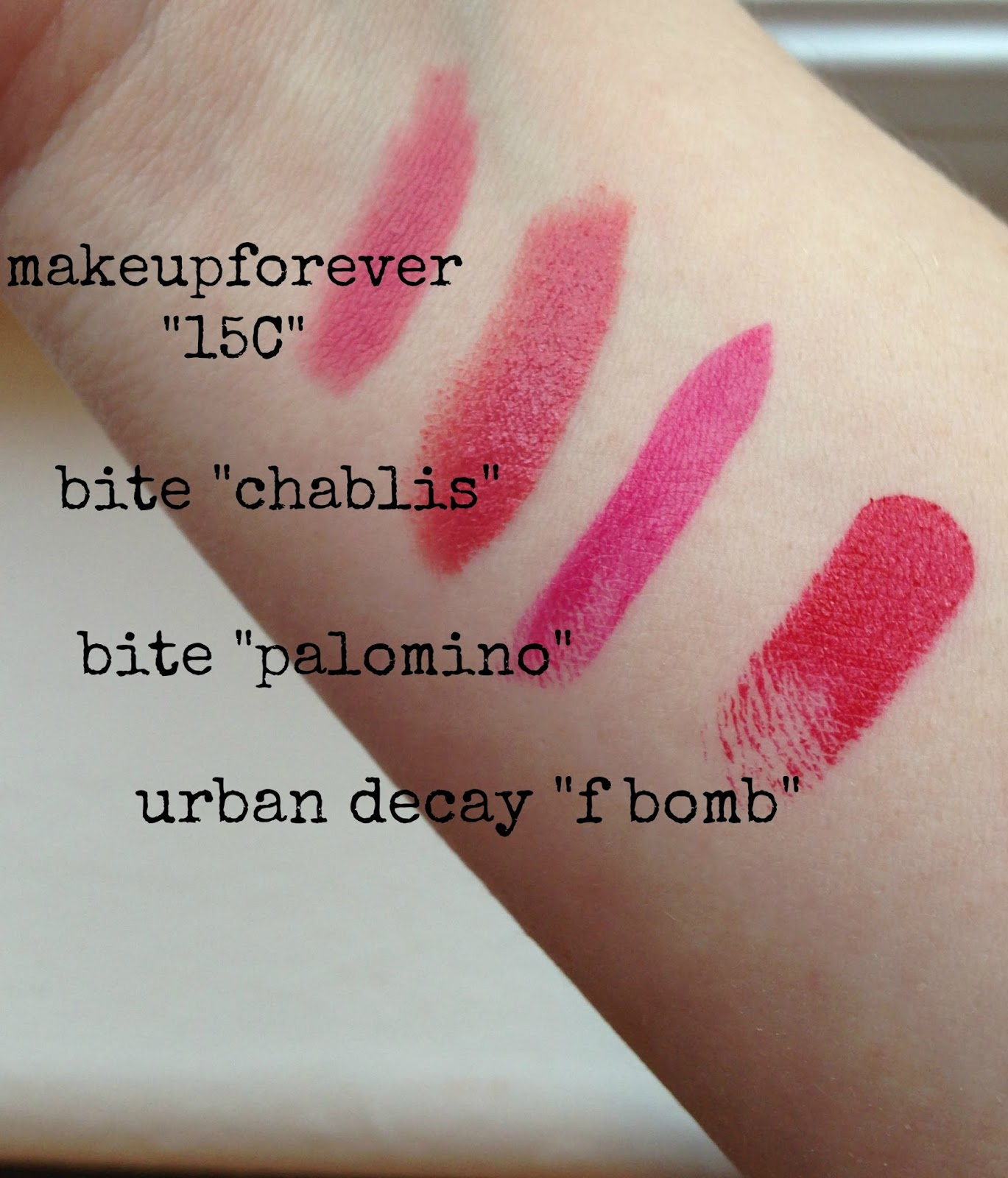 makeup forever 15C review bite chablis review bite palomino review urban decay f bomb review