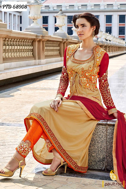 Stylish Anarkali Style Orange Color Chiffon Party Wear Salwar Suits For Fashionable Girls In India