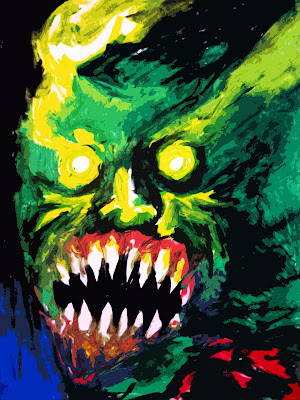 A monster with glowing eyes bares its bloody fangs.