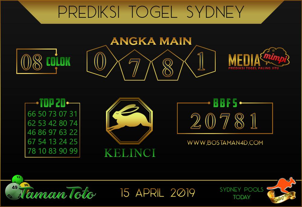 Prediksi Togel SYDNEY TAMAN TOTO 15 APRIL 2019