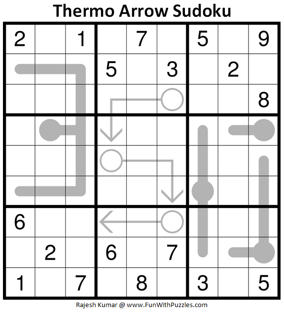 Thermo Arrow Sudoku Puzzle (Fun With Sudoku #350)