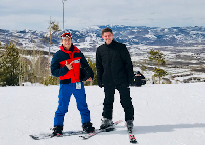Lawson Bates and Nathan Bates skiing Granby Colorado