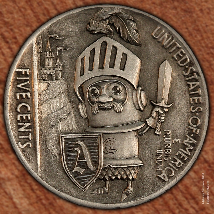 12-Sir-Shiney-Knight-Aleksey-Saburov-Detailed-Carvings-on-Hobo-Nickel-Coins-www-designstack-co
