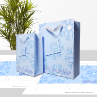 Blue snowflakes Merry Christmas gift bag in two sizes.
