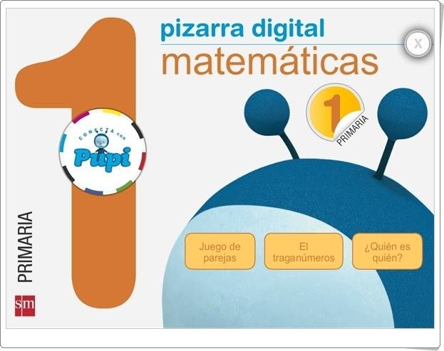 """Pizarra Digital """"Conecta con Pupi"""" S.M. (1º Primaria Matemáticas)"""
