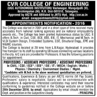 Cvr College Of Engineering Wanted Professors Associate
