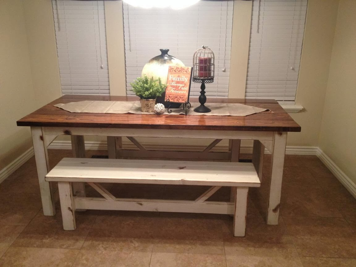 Kitchen Table Benches White Countertops Rustic Nail Farm Style And To Match