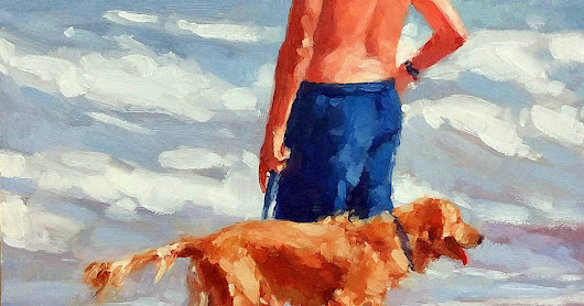 """Move On"" -- Series Painting of Dogs & Owners on the Beach"