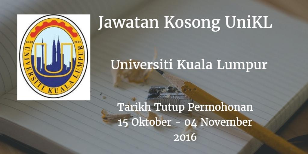 Jawatan Kosong UniKL 15 Oktober - 04 November 2016
